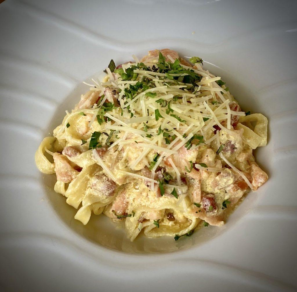Fettuccine Carbonara with Pancetta & Smoked Salmon